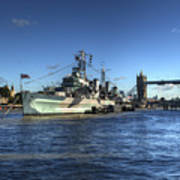 The Tower Hms Belfast And Tower Bridge Art Print