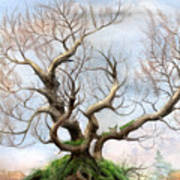 The Tree On The Top Of The Hill  Art Print