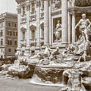 The Trevi Fountain In Sepia Tones Art Print