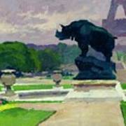 The Trocadero Gardens And The Rhinoceros Art Print by Jules Ernest Renoux