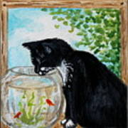 The Tuxedo Cat And The Fish Bowl Art Print
