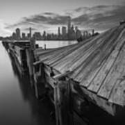 The Twisted Pier Bw Art Print