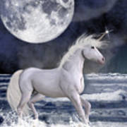 The Unicorn Under The Moon Art Print