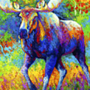 The Urge To Merge - Bull Moose Art Print by Marion Rose