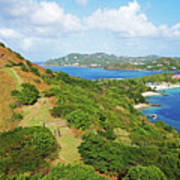 The View From Fort Rodney On Pigeon Island Gros Islet Blue Water Art Print