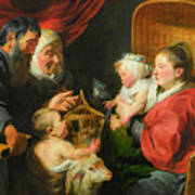 The Virgin And Child With St. John And His Parents Art Print