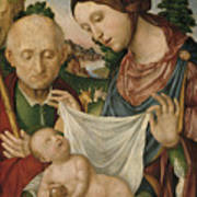 The Virgin And Saint Joseph  Adoring The Christ Child Art Print