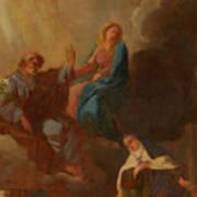 The Virgin Placing St Teresa Under The Protection Of St Joseph Art Print