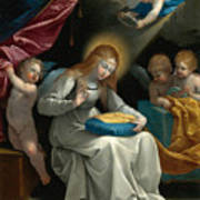 The Virgin Sewing Accompanied By Four Angels. La Couseuse Art Print