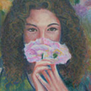 The Vision Romantic Figurative Floral Pastel Painting Art Print