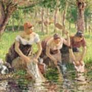 The Washerwomen Art Print by Camille Pissarro