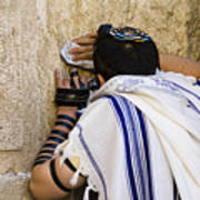 The Western Wall, Jewish Man Wearing Print by Richard Nowitz