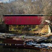 The Wissahickon Creek In Autumn - Thomas Mill Covered Bridge Art Print