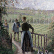 The Woman With The Geese Art Print by Camille Pissarro