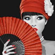 Woman With Paper Fan Art Print