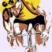 The Yellow Jersey Retro Style Cycling Art Print