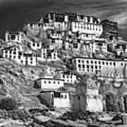 Thiksey Monastery - Paint Bw Art Print
