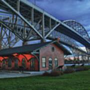 Thomas Edison Train Depot And Blue Water Bridges Art Print