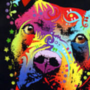Thoughtful Pitbull Warrior Heart Print by Dean Russo
