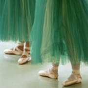 Three Ballerinas In Green Tutus Print by Julia Hiebaum