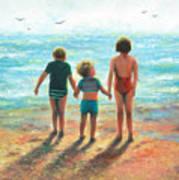 Three Beach Children Siblings  Art Print