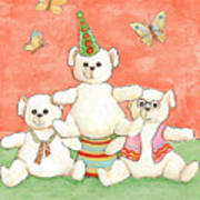 Three Bears Ready For The Party Art Print