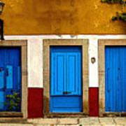 Three Blue Doors 1 Print by Mexicolors Art Photography