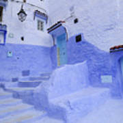 Three Blue Doors In Chefchaouen  Art Print