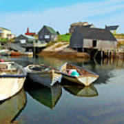 Three Boats At Peggys Cove Art Print