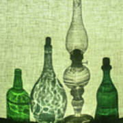 Three Bottles And A Lamp Art Print
