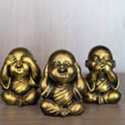 Three Buddha Statue Art Print