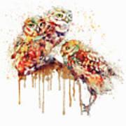 Three Cute Owls Watercolor Art Print