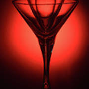 Three Empty Cocktail Glasses On Red Background Art Print