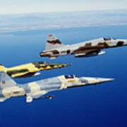 Three F-5e Tiger II Fighter Aircraft Art Print