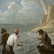 Three Fishermen Casting Their Nets Art Print