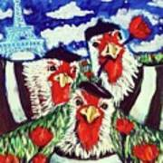 Three French Hens Painting By Kimberly Dawn Clayton
