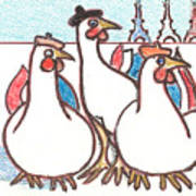 Three French Hens Greeting Card For Sale By Kippax Williams