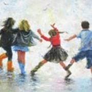 Three Girls And Boy Art Print