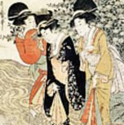 Three Girls Paddling In A River Print by Kitagawa Utamaro