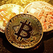 Three Golden Bitcoin Coins On Black Background. Art Print