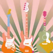 Three Guitars Pop Art Art Print