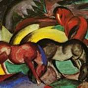 Three Horses 1912 Art Print