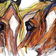 Three Horses Talking Art Print