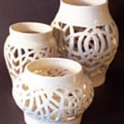 Three Interlaced Design Wheel Thrown Pots Art Print by Carolyn Coffey Wallace
