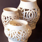 Three Interlaced Design Wheel Thrown Pots Art Print