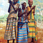 Three Joyful Girls Art Print