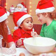 Three Kids Making Christmas Cookies Art Print