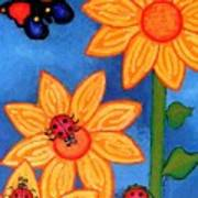 Three Ladybugs And Butterfly Art Print