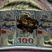 Three Legged Frog Bringing Luck And Wealth Art Print