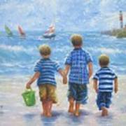 Three Little Beach Boys Walking Art Print